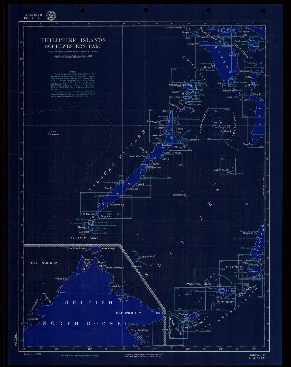 Blueprint Style 18 x 24 Reprint of 1953 Nautical Chart-Index Philippine Islands Southwestern Part by Hydrographic Office of The United States Navy PH