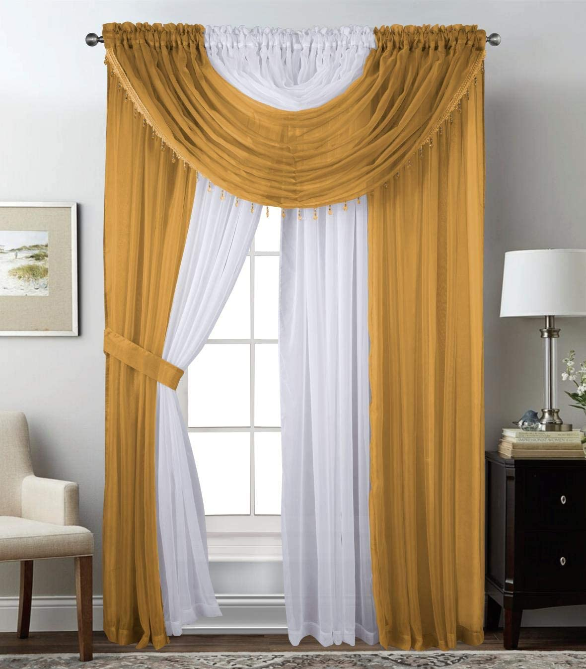 "Sapphire Home Complete Window Sheer Curtain Panel Set with 4 Attached Panels (55x84 Each) and 2 Valances with Beads and 2 Tiebacks - Easy Installation- Multicolor 84"" Gold"