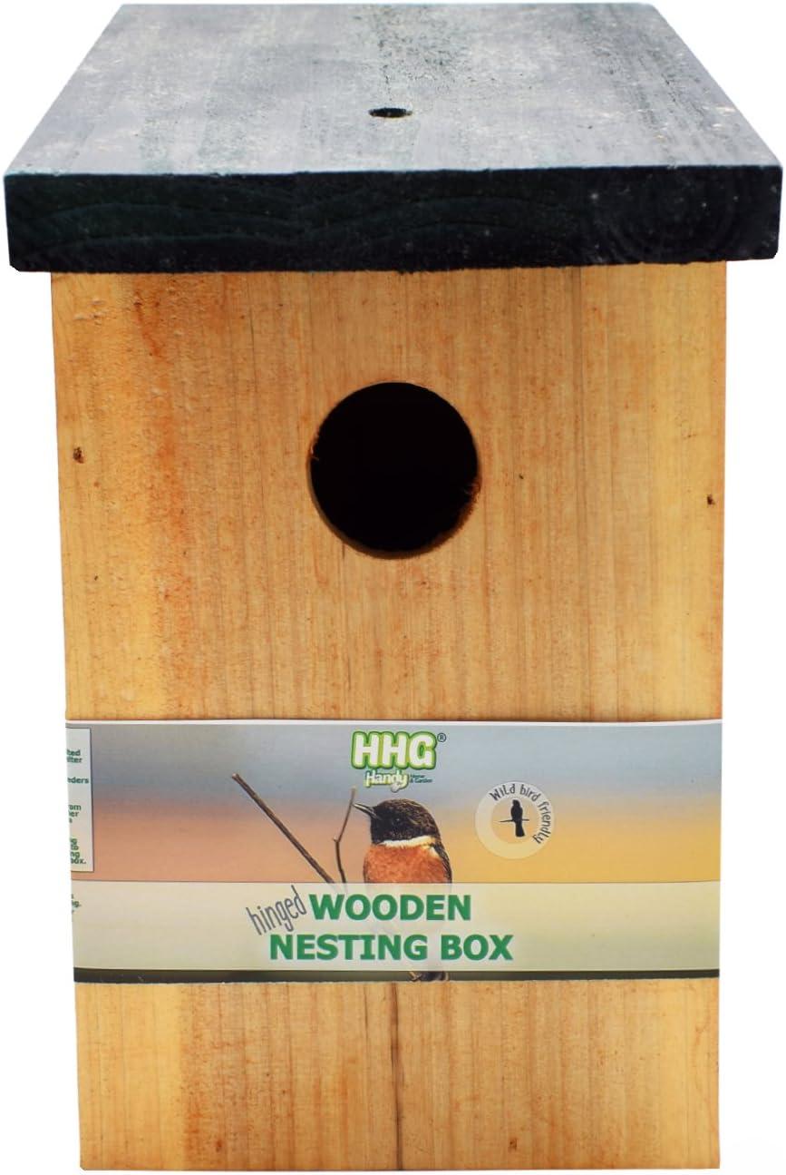 1 x Handy Home and Garden Caja Nido de Madera con Madera Tratada a Presión para Aves Silvestres y de Jardín HHGBF017