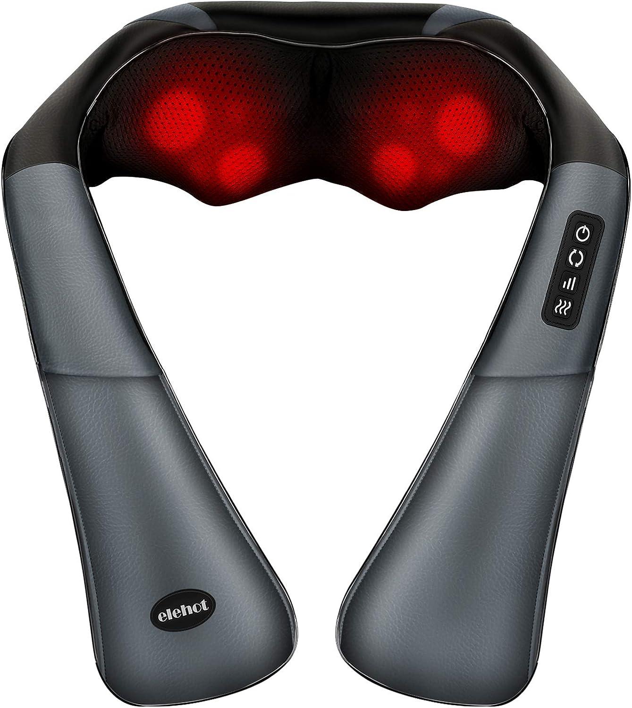 Masajeador Cuello Masajeador Cervical y Espalda Eléctrico Shiatsu 3D Rotación y Calentamiento ELEHOT … (NEGRO)