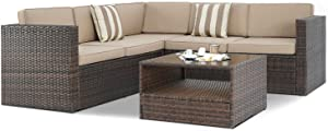 SUNCROWN Outdoor 4-Piece Furniture Sectional Sofa Set All Weather Brown Wicker with Washable Seat Cushions and Modern Glass Coffee Table, Brown