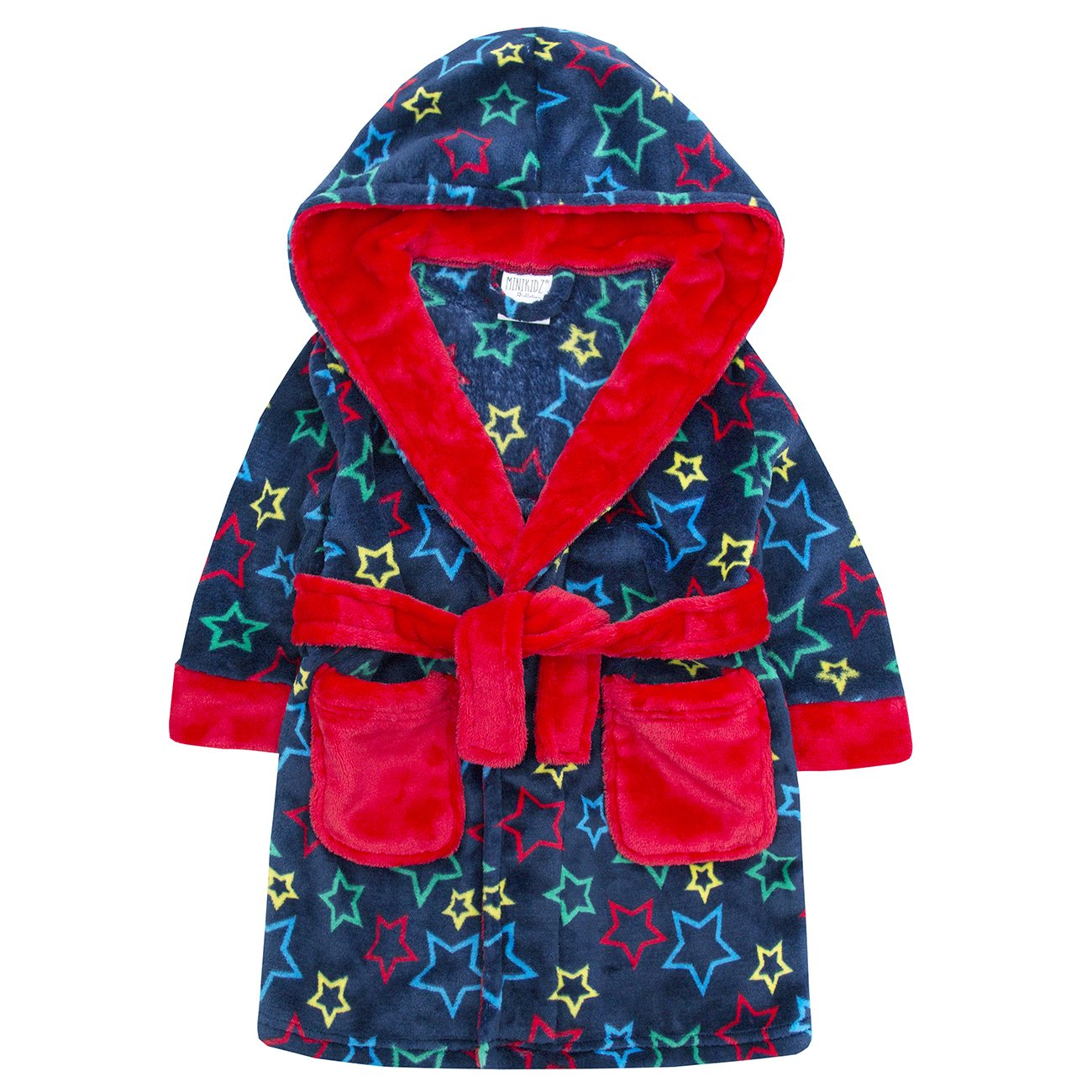 Childrens Star Print Soft Fleece Hooded Dressing Gown ~ 2-6 Years