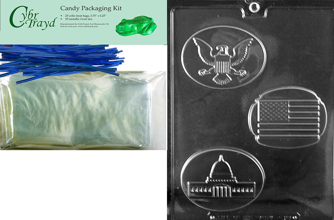 Cybrtrayd P028 USA Box Set Chocolate Candy Mold with Exclusive Cybrtrayd Copyrighted Chocolate Molding Instructions plus Optional Candy Packaging Bundles