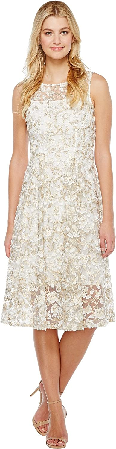 Adrianna Papell Women's 3D Lace and Midi Don't miss the campaign Fit Flare 2021new shipping free shipping