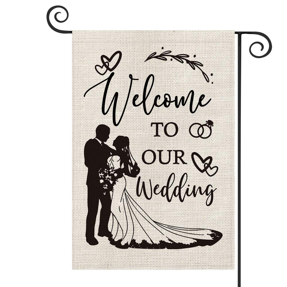 AVOIN Welcome To Our Wedding Garden Flag Vertical Double Sized, Bride and Groom Anniversary Holiday Party Yard Outdoor Decoration 12.5 x 18 Inch