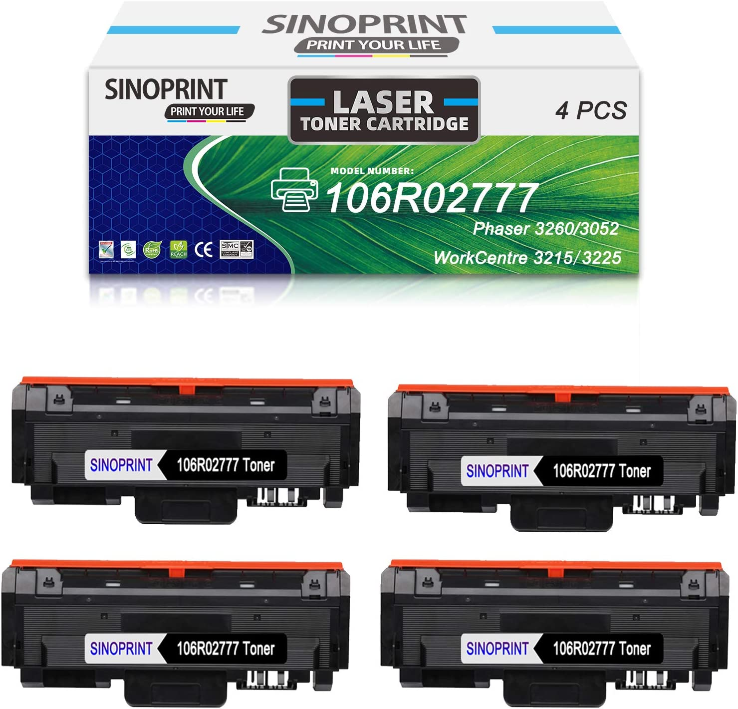 SINOPRINT Compatible 106r02777 Toner Cartridge for Xerox 3260 106r02777 Black Toner Worked in Xerox WorkCentre 3215 3215NI 3225 3225DNI Phaser 3260 3260DNI 3260DI 3052 (Black, 4-Pack)