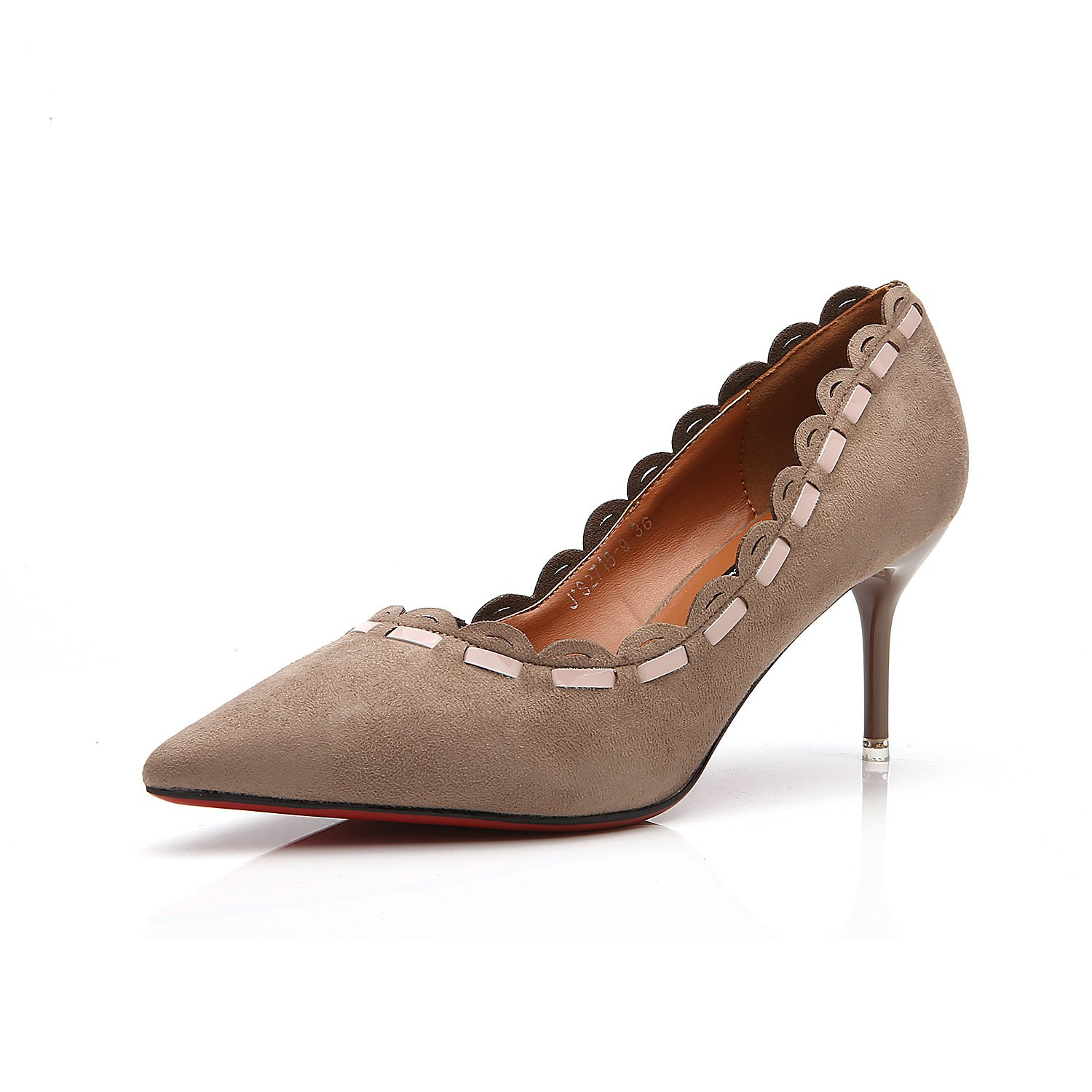 The tip of the Korean version of the high-heel shoes pointed high-heeled shoes fine with 7cm in light of women's singles shoes, a pair of khaki 35