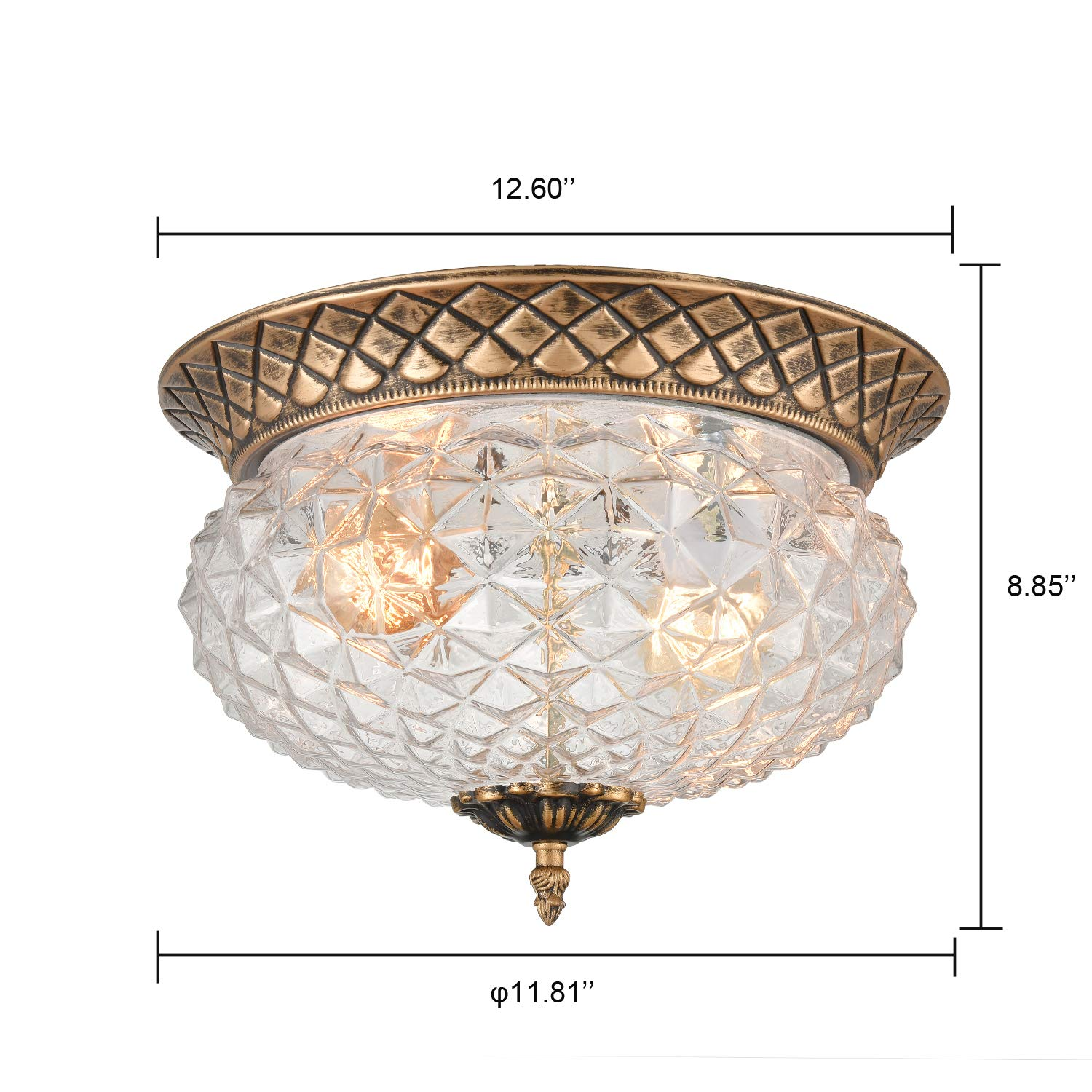 Axiland dome vintage ceiling light fixture with pineapple glass