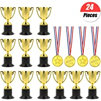 YuChiSX 24 stuks Award Trofeeën Medailles Set, Winnaar Prijs Trofeeën Mini Plastic Trofee Bekers, Mini Trofeeën, Gold…