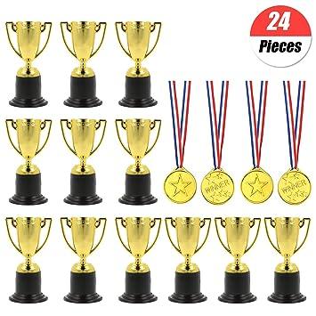 YuChiSX 24 Pcs Award Trophies Medals Set,12 Pcs Winner Award