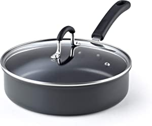 Cook N Home 2635 3 Quart/24cm Anodized Nonstick Saute Pan, 3 Quarts, Black