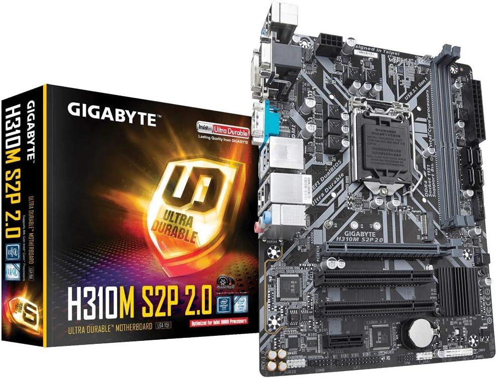 GIGABYTE H310M S2P 2.0 (LGA1151/ Intel/ H310/ Micro ATX/Ultra Durable/ 8118 Gaming LAN/ DDR4/ HDMI 1.4/ M.2/ DVI-D/Motherboard)