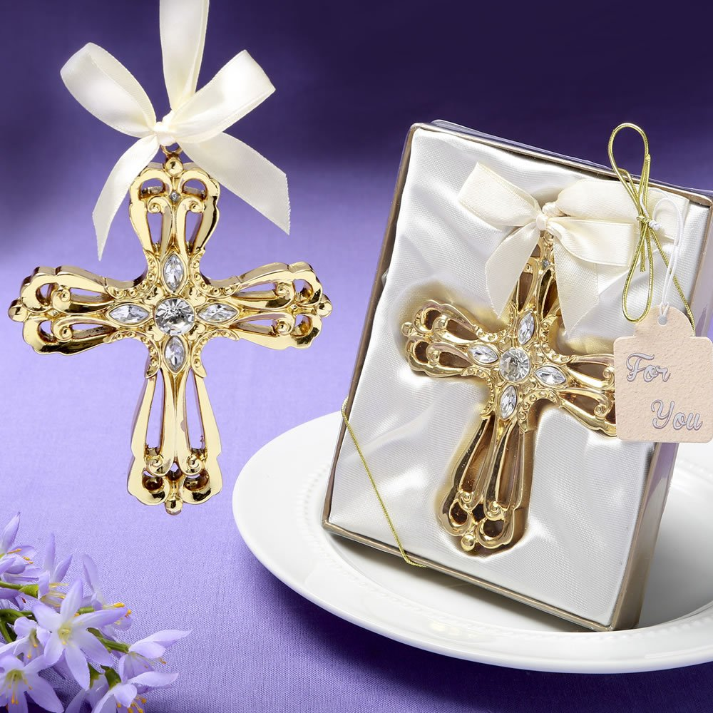 64 Majestic Gold Cross Ornament Religious Favors by Fashioncraft