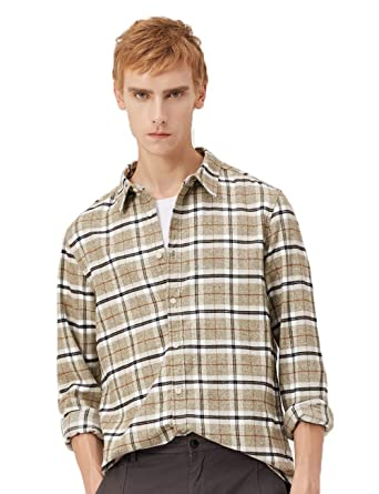 63ceedffa MARKLESS Mens Long Sleeve Slim Fit Casual Cotton Shirt Soft Plaid Comfort  Button Down Shirt at Amazon Men s Clothing store