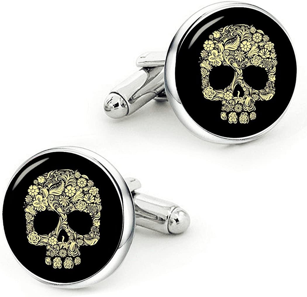 Kooer Vintage Gold Sugar Skull Cufflinks Handmade Gold Skull Cuff Links Wedding Jewelry Gift for Men