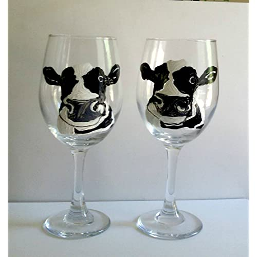Dairy Cow Hand Painted 20 oz Stemmed Wine Glasses (Set of 2) Kitchen Décor