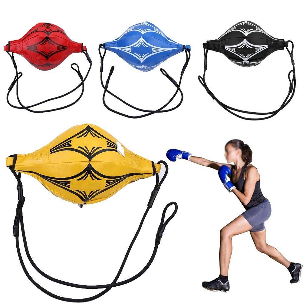 Punchingボール耐久性PUレザースピードボールボクシングパンチバッグ総合格闘技トレーニングバッグDouble End Sparringスピードボールトレーニング機器 B07314VDBX  ブラック