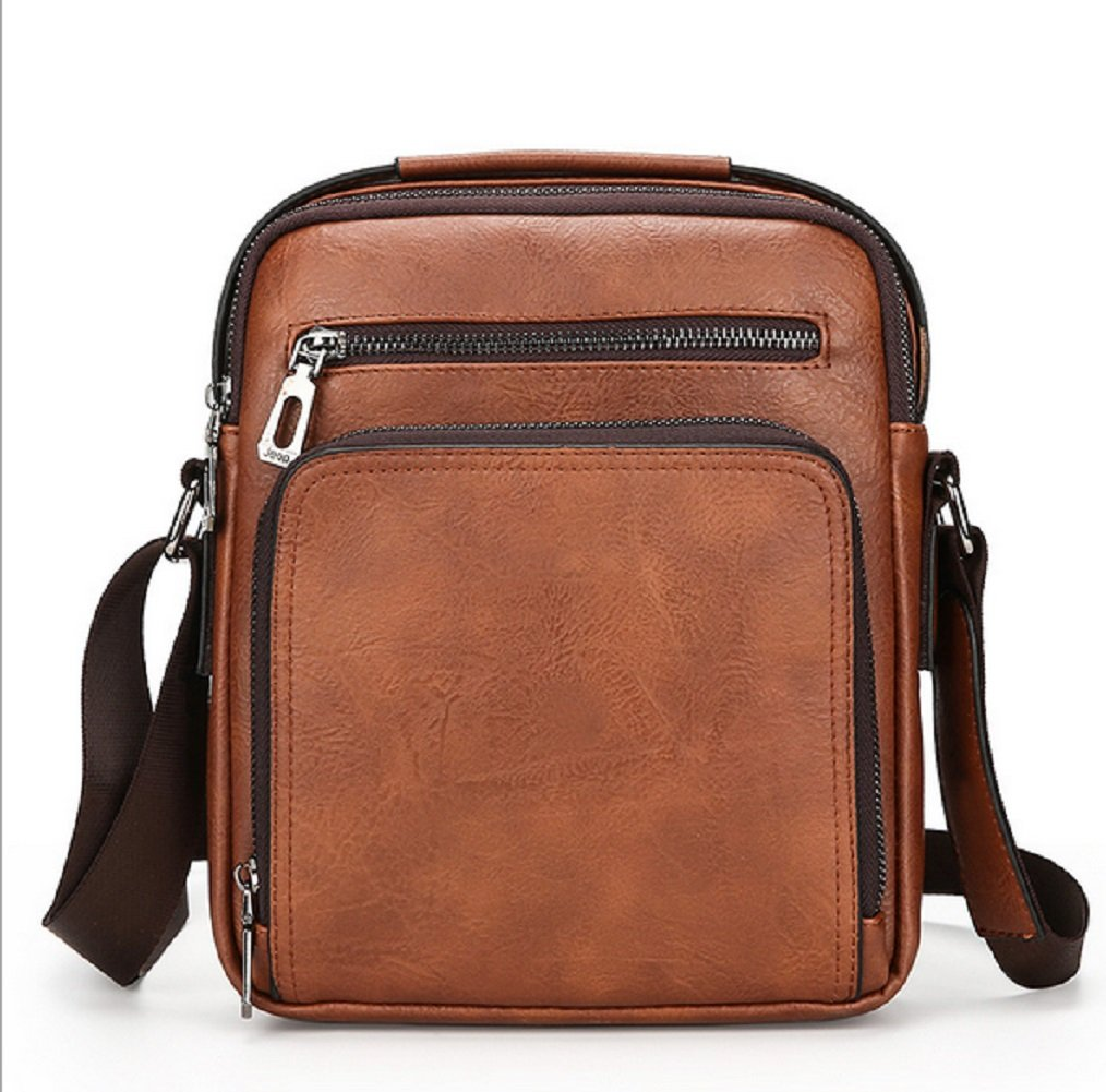 Brown Fashion Men Bag Wrinkled Leather Men's Shoulder Bag iPad Bag DYTUYGF