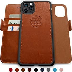 dreem Fibonacci 2-in-1 Wallet-Case for iPhone 11 Pro Max, Magnetic Detachable Shock-Proof TPU Slim-Case, RFID Protection, 2-Way Stand, Luxury Vegan Leather, GiftBox - Caramel