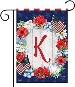 "Briarwood Lane Patriotic Monogram Letter K Garden Flag Floral Wreath 12.5"" x 18"""