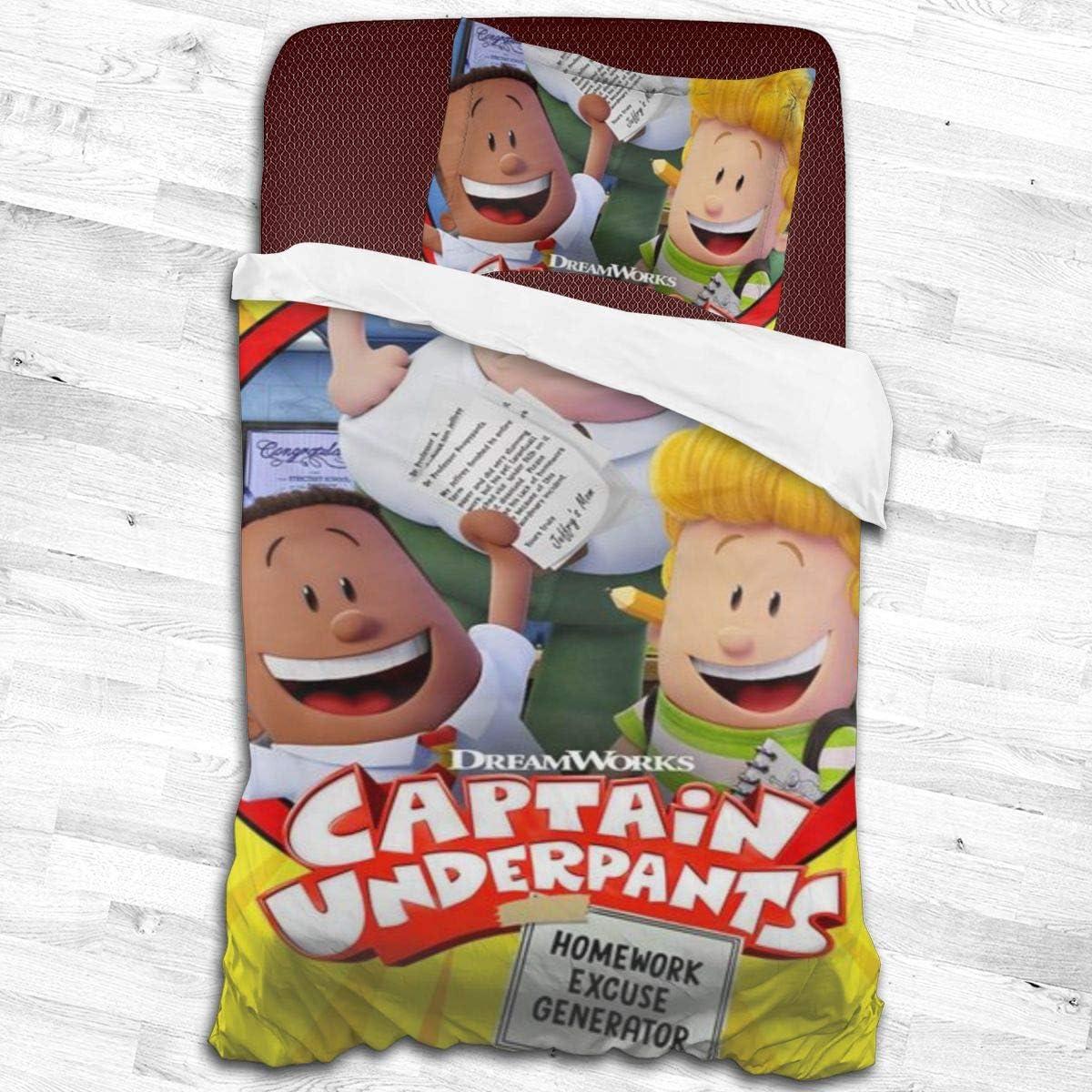 KALLYHHHAHA Captain Friend-Underpants Unisex Kids Adult Cover Set Decorative 2 Piece Bedding Set with 1 Pillow Sham