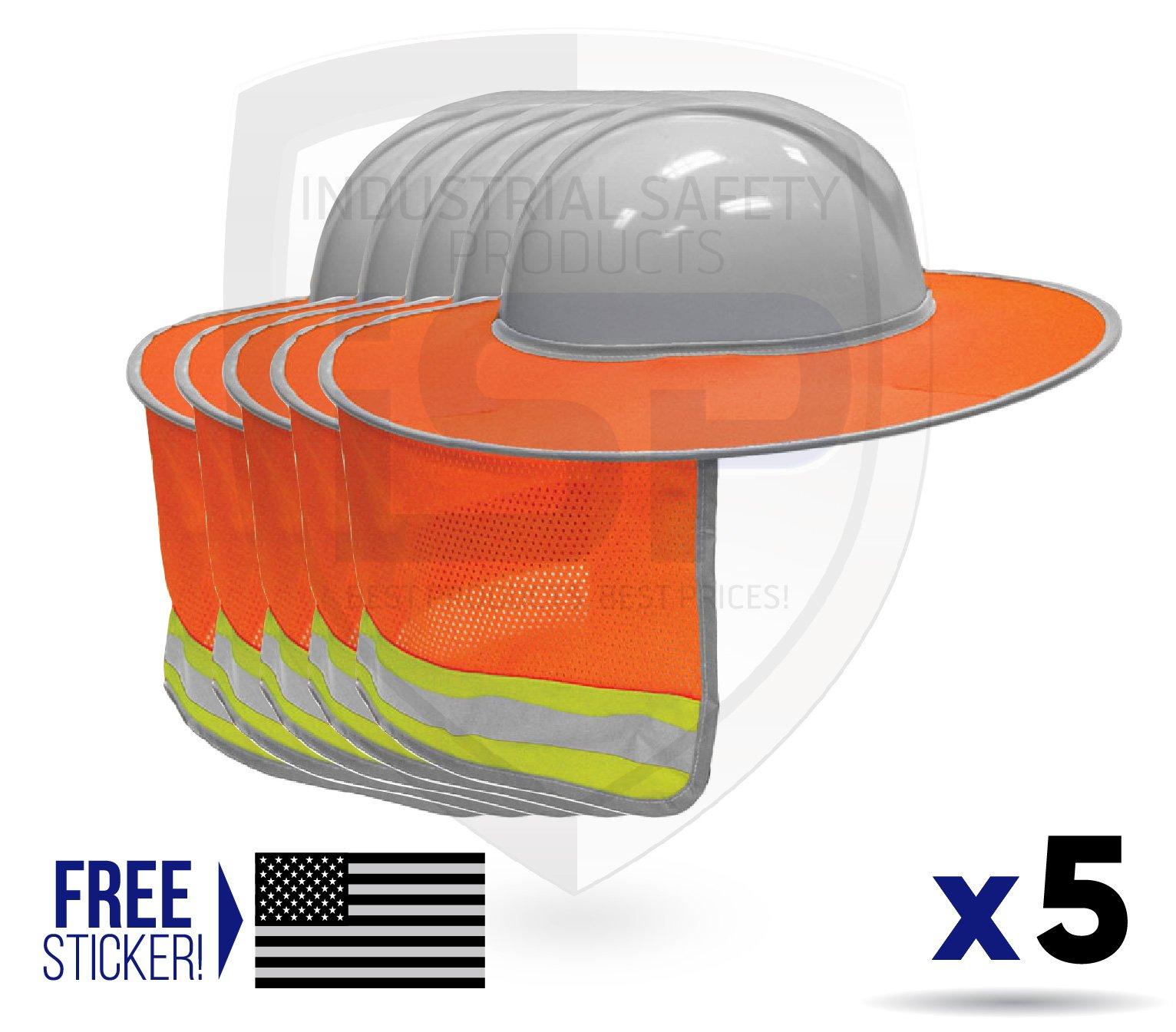 ML Kishigo 2874-6 Full Brim Sun Shield Color Orange (5 Pack) Include Free Sticker (American Flag)
