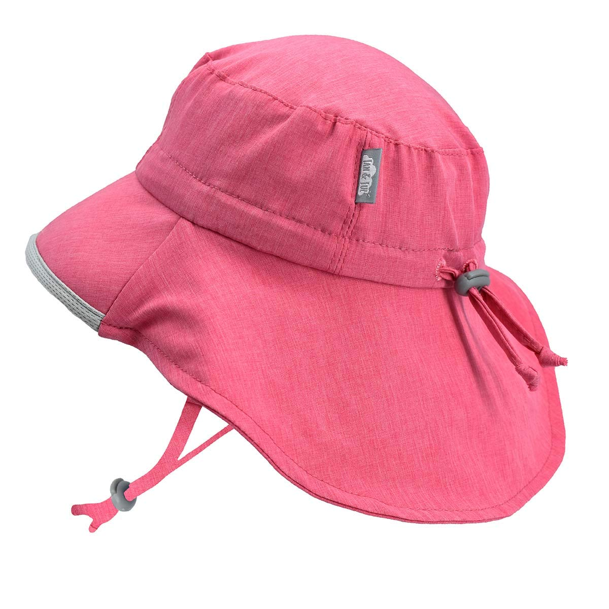 Girls Quick-Dry Pool Swim Sun-Hats 50+ UPF Adjustable (L: 2Y - 5Y, Pink) by JAN & JUL