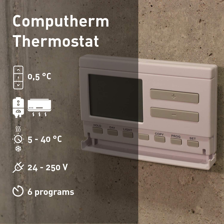 COMPUTHERM Q7 termostato digital programable para pared para calefacción, aire acondicionado y suelo radiante - 1 regulador con 6 programas por día