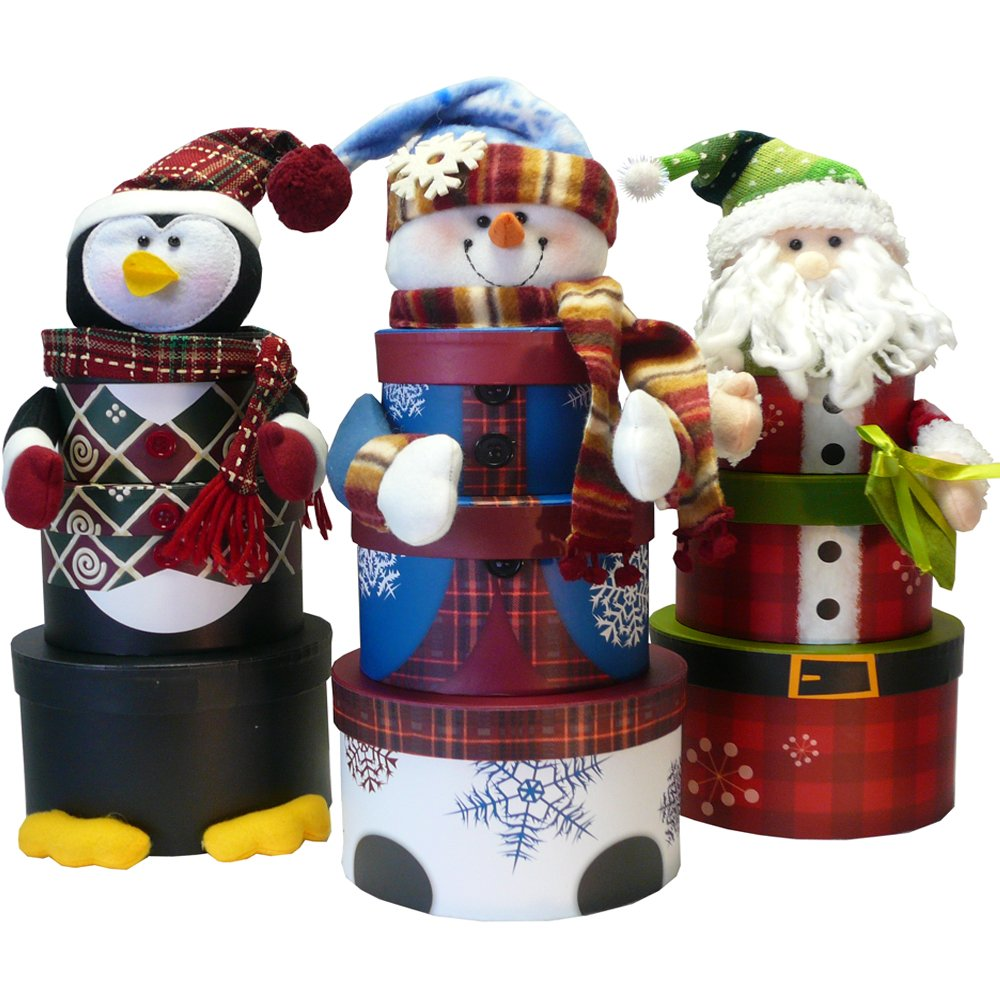 amazoncom snowman stacking tower christmas holiday gift box set gourmet snacks and hors doeuvres gifts grocery gourmet food - Santa Snowman