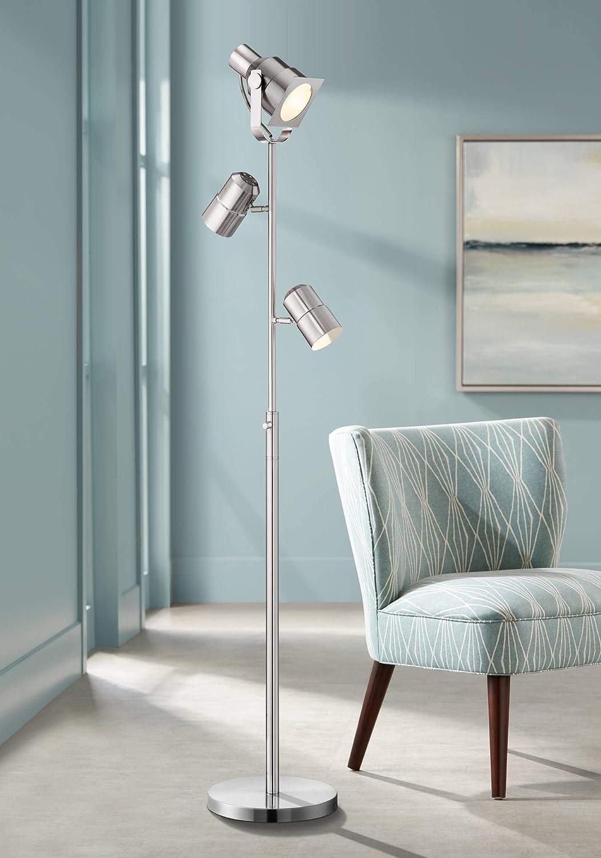 Nuovo Modern Floor Lamp 3 Light Tree Brushed Nickel Adjustable Heads For Living Room Reading Bedroom Office Possini Euro Design Amazon Com