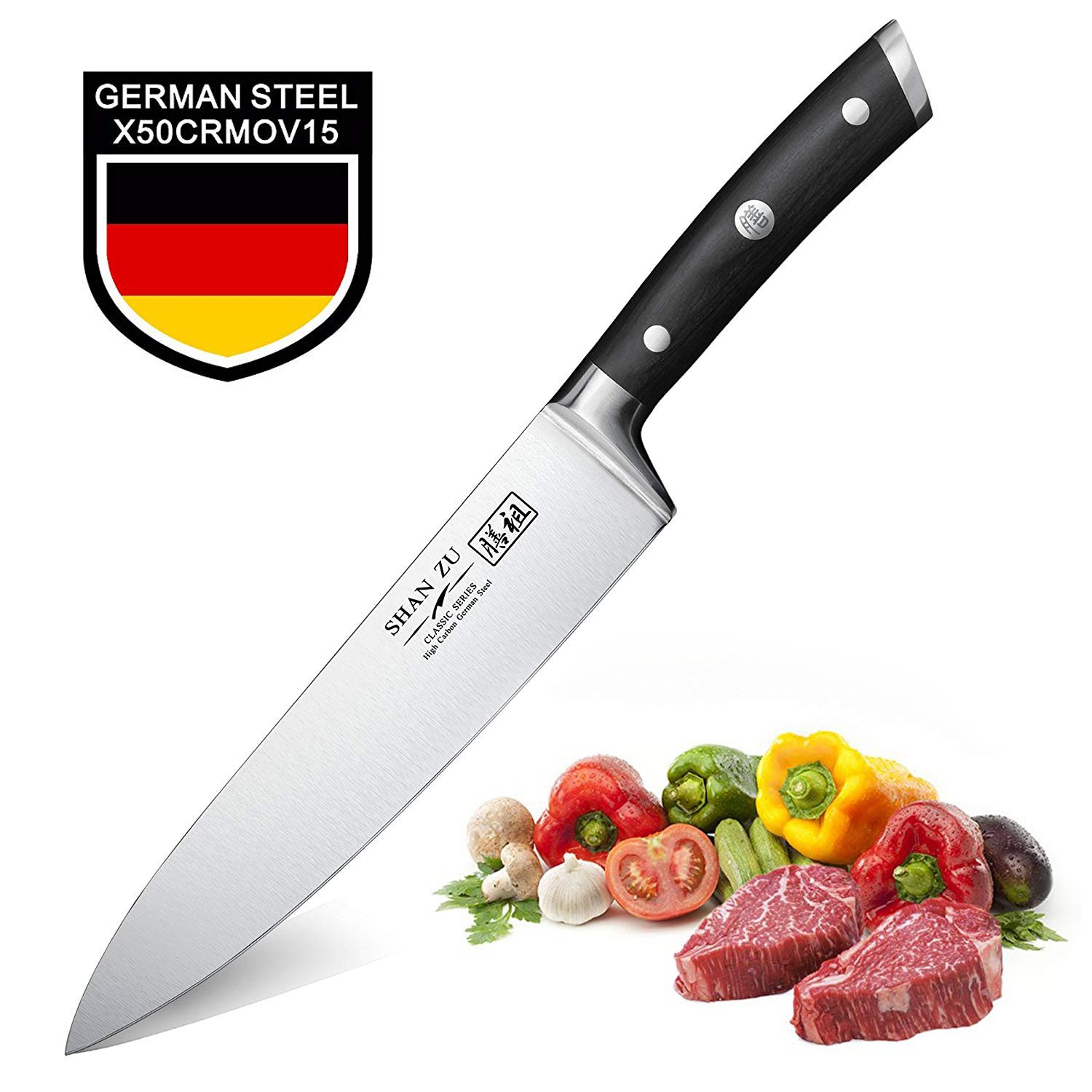 Chef Knife 8 Inch, SHAN ZU Pro Kitchen Knife with High Carbon German Steel with Ergonomic Handle, Rust Free and Wear Resistant, Perfect for Kitchen and Home