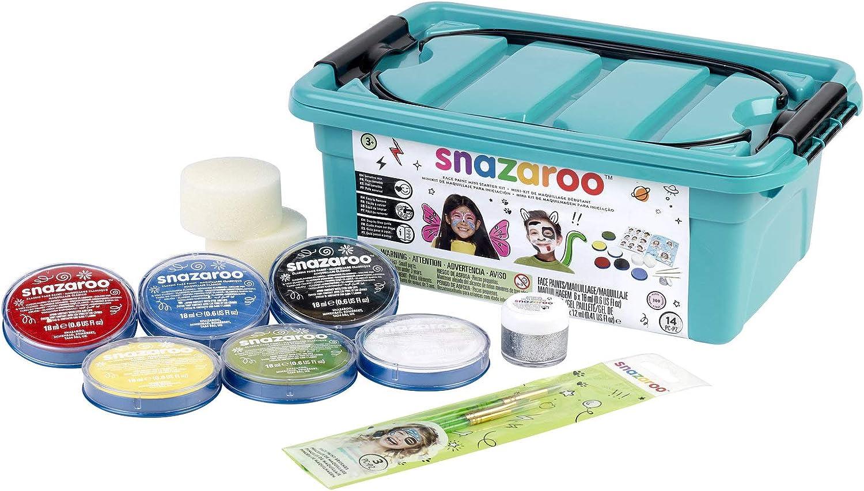 Snazaroo - Maleta, 6 colores y gel brillo con 3 pinceles, 2 esponjas y libro de maquillaje: Amazon.es: Belleza