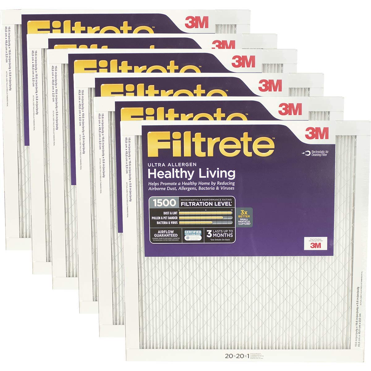 Filtrete Healthy Living Ultra Allergen Reduction AC Furnace Air Filter, MPR 1500, 20 x 20 x 1-Inches, 6-Pack