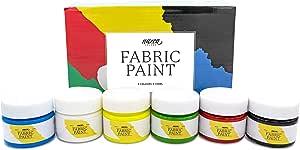 Pintura para Tela y Ropa Calidad Profesional Nazca - 6 Colores x 100ml - Set de Pintura Textil Acrílica Permanente Ideal para toda clase de Tejidos, ...