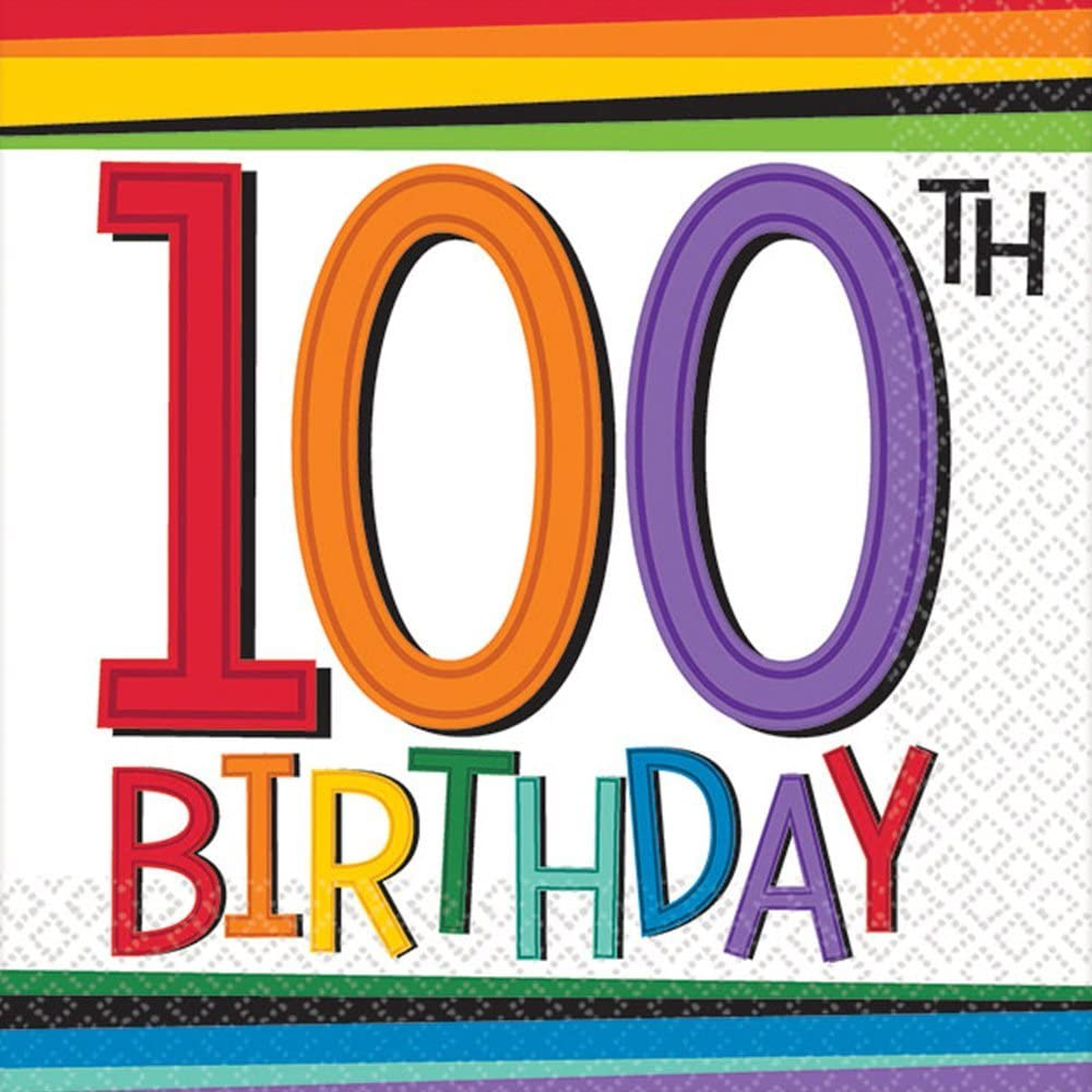 Amscan Rainbow 100th Birthday Beverage Napkins Party Supplies, One Size, Multicolor