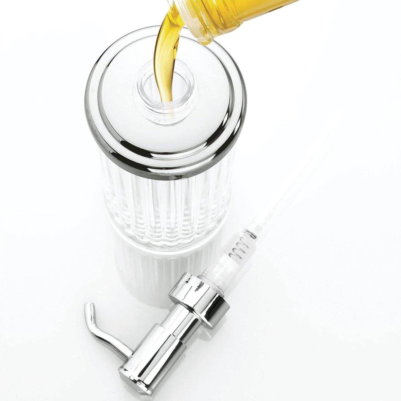 durchsichtig//silberfarben Wattest/äbchenbeh/älter aus Kunststoff iDesign Alston Wattepadspender