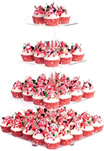 """YestBuy 4 Tier Acrylic Cupcake Stand with Base, Premium Cupcake Holder, Acrylic Cupcake Tower Display Cady Bar Party Décor – Display for Pastry(4.7"""" Between 2 Layers)"""