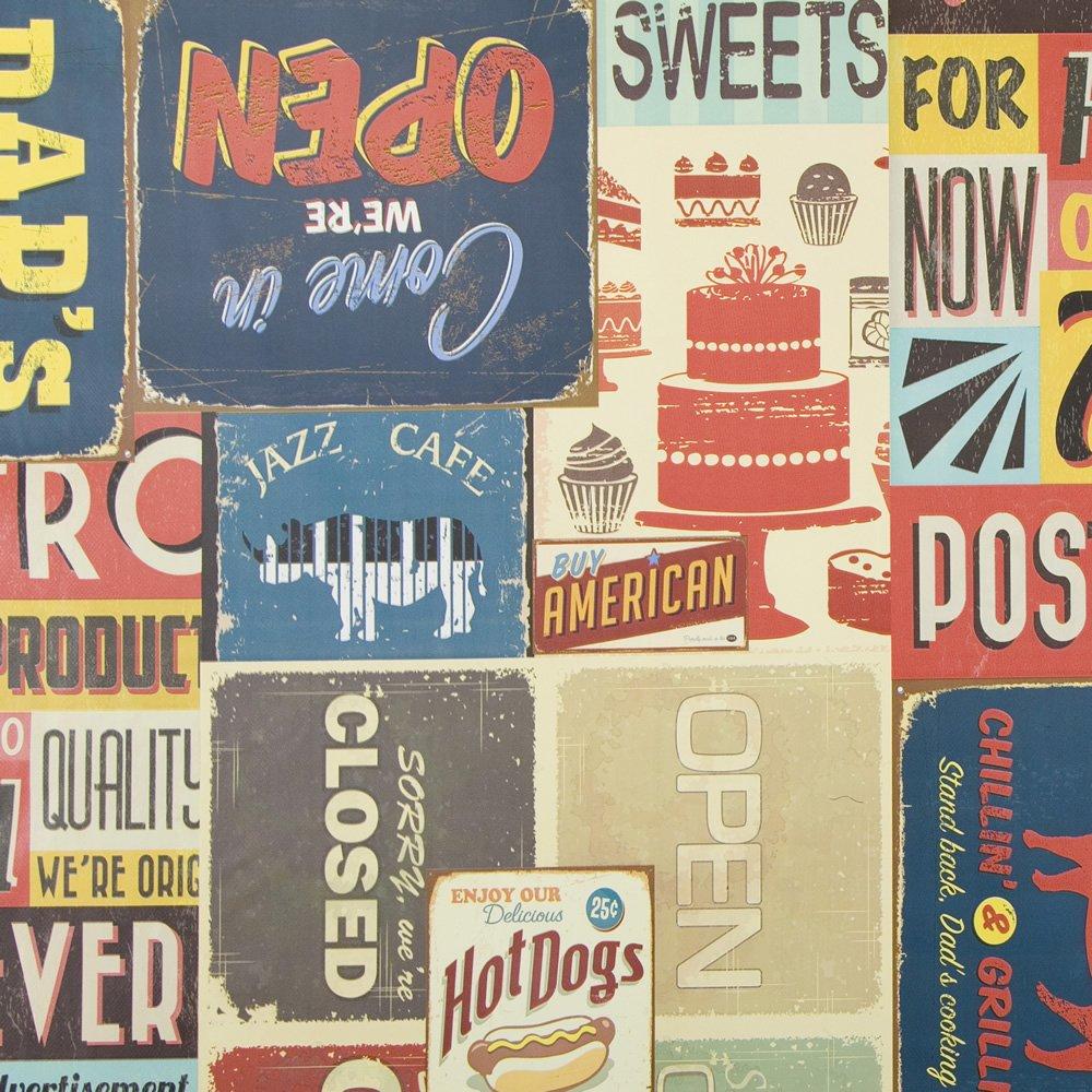 utilizzabile come tovaglia rettangolare 140/cm x 200/cm 139,7/x 200,7/cm Vintage American Diner segni e logo in vinile PVC tela cerata