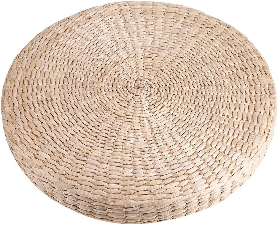 SANON Tatami Cushion, Round Padded Pouf Soft Yoga Straw Mat Eco-Friendly Floor Pillow Sitting Knitted Garden Dining Room Home Decor Outdoor,40cm