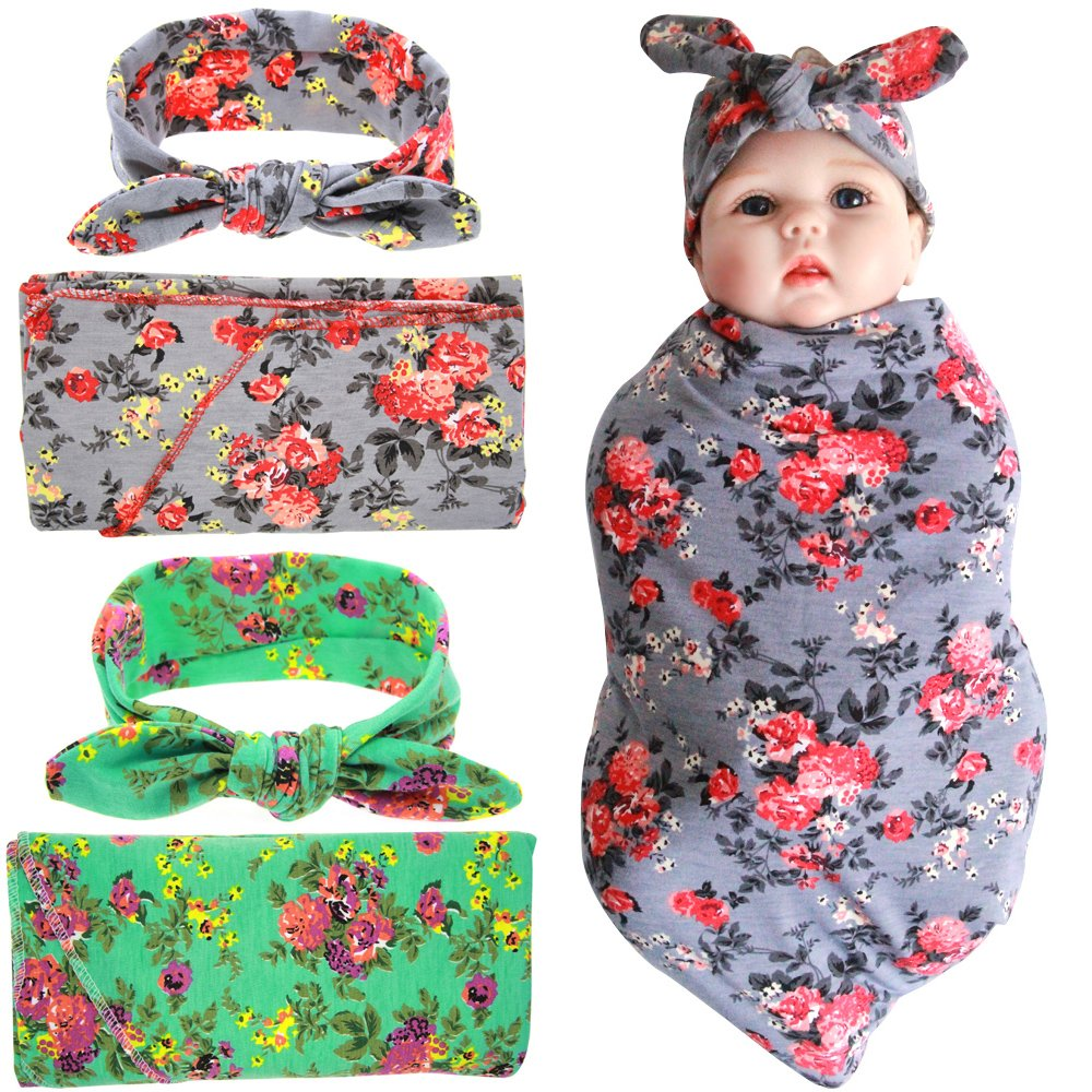 Quest Sweet Newborn Swaddle,Swaddle Cocoon,Blanket&Headband Set (1-3 Pack) Receiving Blankets QS-1122-PJ00XF