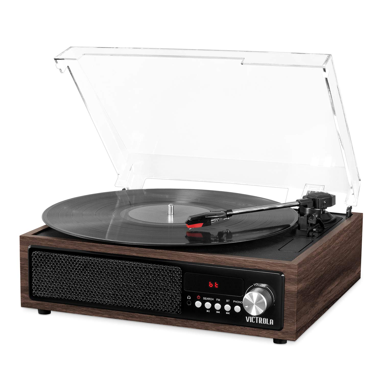 Victrola 3-in-1 Bluetooth Record Player with Built in Speakers and 3-Speed Turntable, Espresso