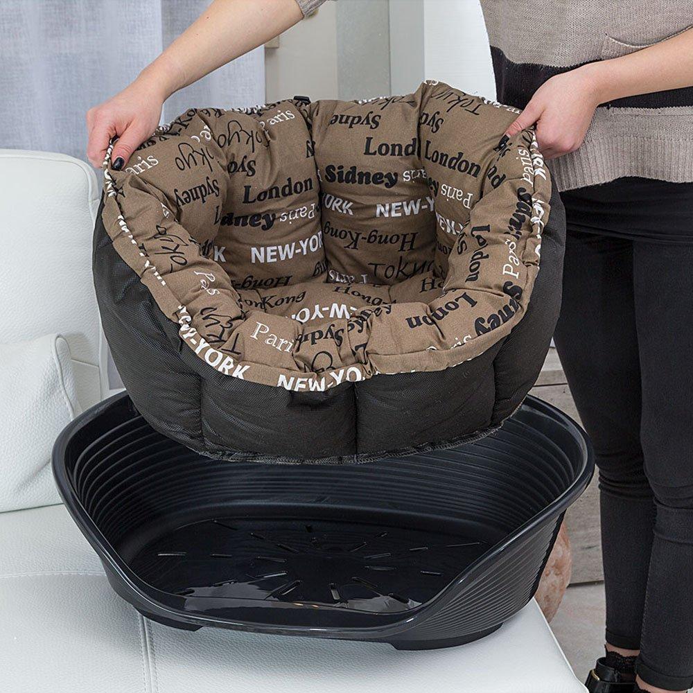 ferplast 70224999 plástico cama para perro y gato con extraíble, funda de algodón acolchado, sofá 4, superficie aprox.: 45 x 30 cm, surtidos: Amazon.es: ...