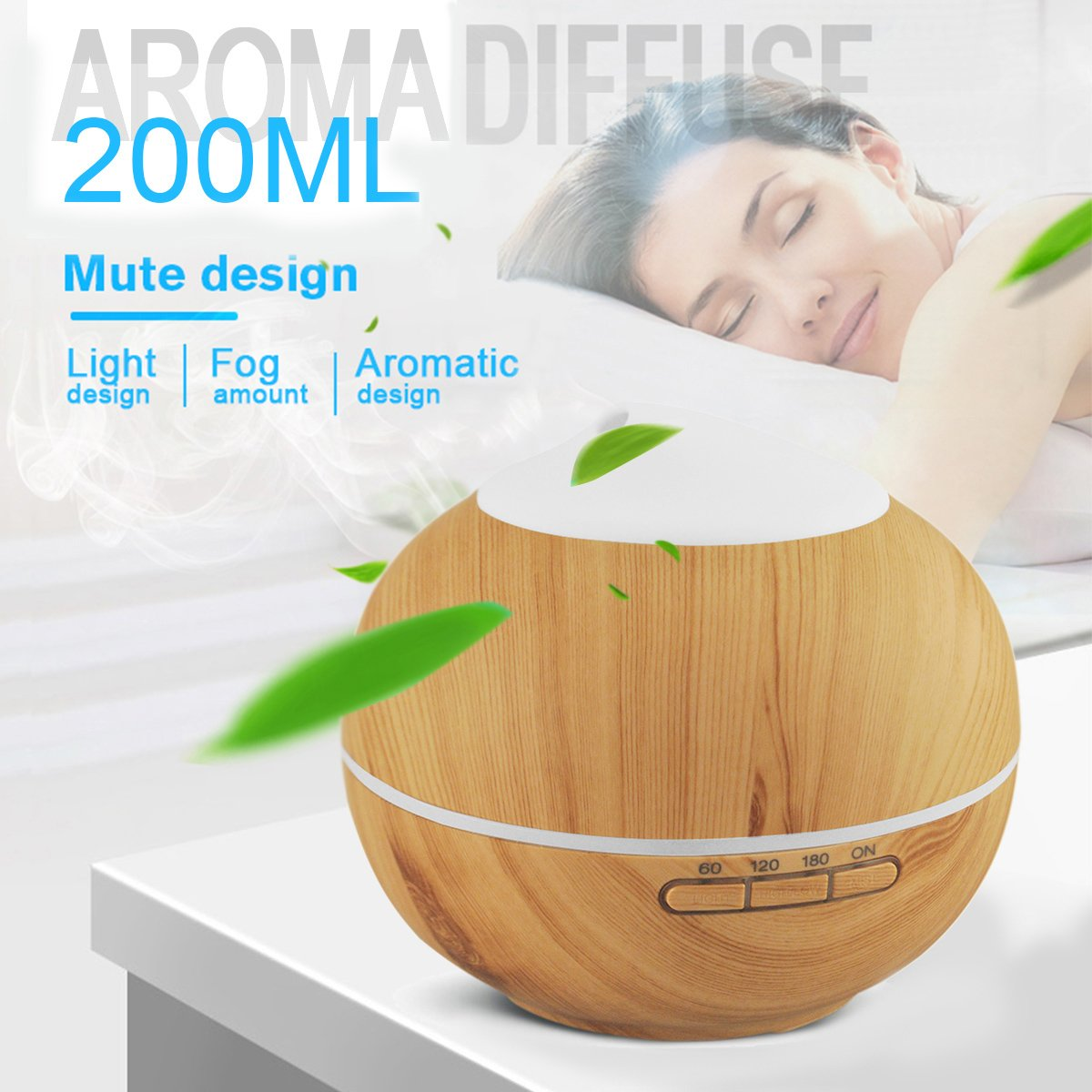 Aroma Diffuser, 200ml Holzmaserung Luftbefeuchter mit Farbenwechselnde Elektrisch Duftlampe 7 Farben für Yoga Salon Spa Wohn Schlaf Bade oder Kinderzimmer Hotel