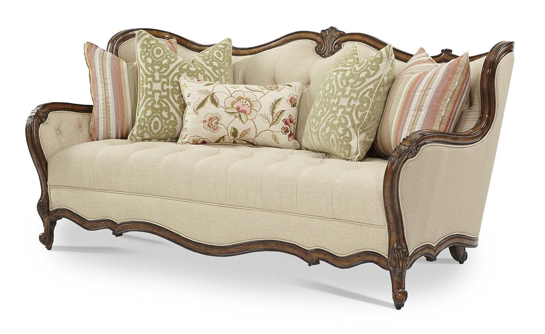 Amazon.com: AICO Lavelle Melange Wood Trim Tufted Sofa by Michael ...