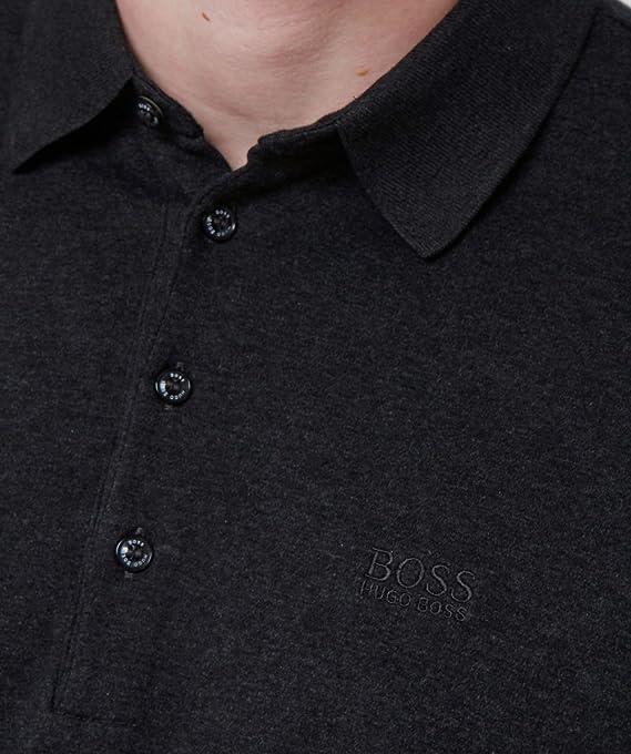 fbb77ba25 Amazon.com  Hugo Boss Black Paderna 30 Long Sleeve Regular Fit Black Polo   Clothing