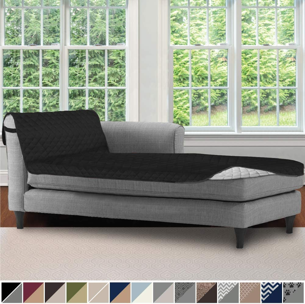 Sofa Shield Original Patent Pending Reversible Chaise Lounge Slipcover, 2 Inch Strap Hook, 102 Inch x 34 Inch Size Furniture Protector, Couch Slip Cover for Kids, Pets, Chaise Lounge, Black Gray