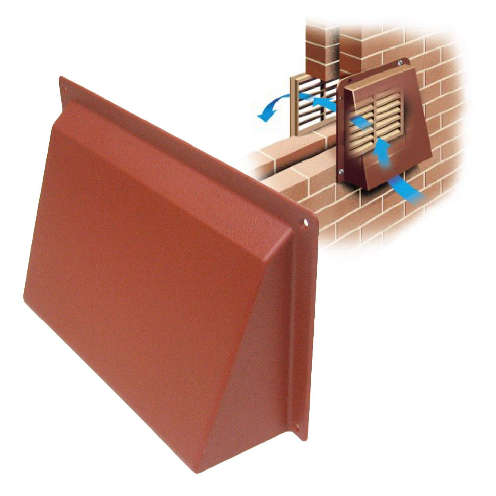 9'' x 6'' Terracotta Hooded Cowl Vent Cover for Air Bricks Grilles Extractors
