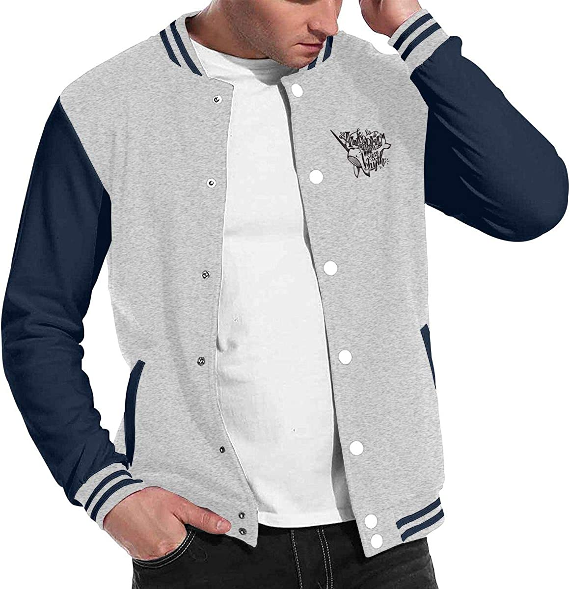 JJKKFG-H So Awesome That People Think Myth Narwhal Mens Style Baseball Uniform Jacket Sport Coat