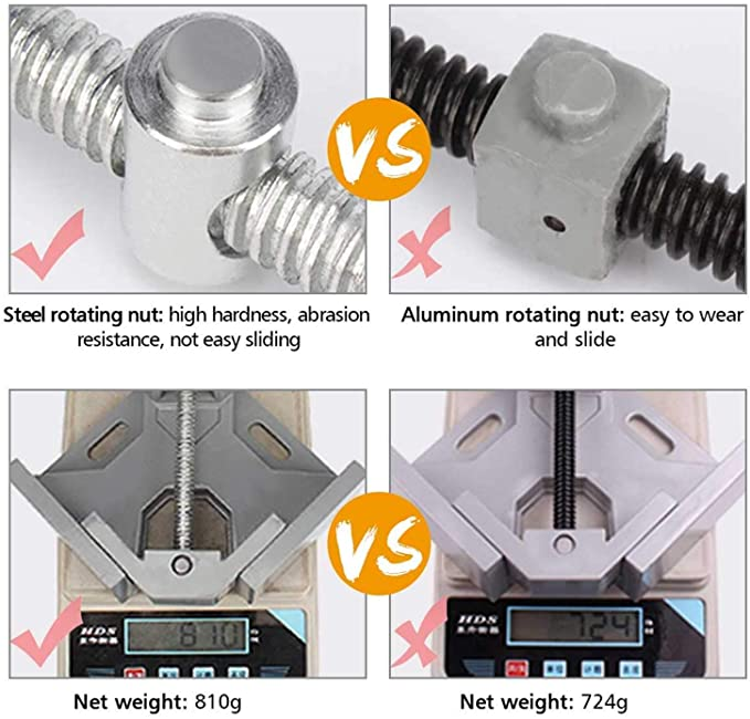 DULALA Pinces /à Angle Poign/ée Simple en Aluminium 90 degr/és Pince /à Angle Droit pour Cadre de Travail du Bois Clip pour Outil de Dossier /à Angle Droit