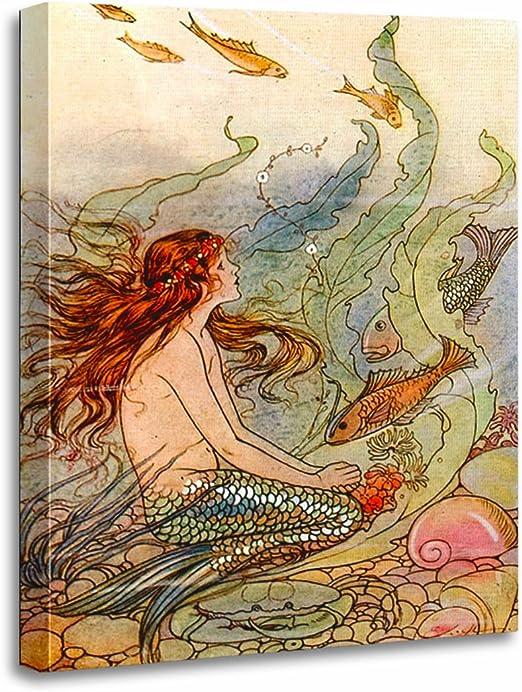 Mermaid Kissing Man Marine Framed Canvas Wall Art Decor 5 Piece